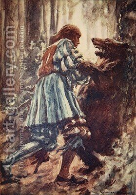 Once when attacked by a she-bear he choked her with his bare hands illustration from A History of Germany by A.C. Michael - Reproduction Oil Painting