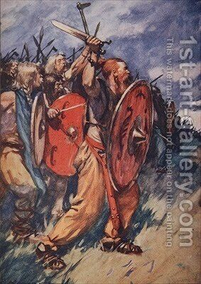 On and on they came hungering for battle illustration from A History of Germany by A.C. Michael - Reproduction Oil Painting
