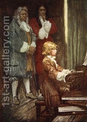 In silence they waited while Handel played by A.C. Michael - Reproduction Oil Painting