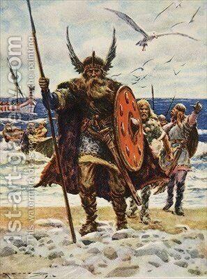 The Landing of the Vikings illustration from This Country of Ours The Story of the United States by A.C. Michael - Reproduction Oil Painting