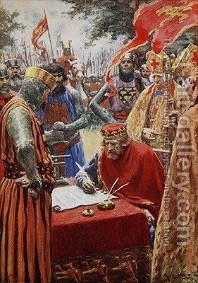 King John signing the Magna Carta reluctantly by A.C. Michael - Reproduction Oil Painting