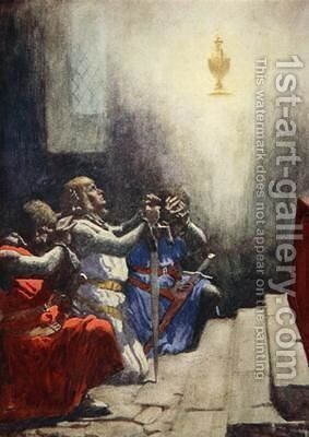 Galahad alone could see the perfect beauty of the Holy Grail 1925 by A.C. Michael - Reproduction Oil Painting