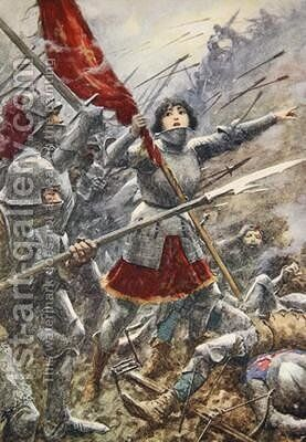Joan of Arc leading her men holding the standard by A.C. Michael - Reproduction Oil Painting
