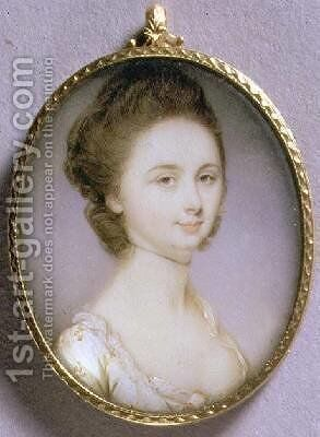 Portrait Miniature of a Lady in a White Dress 1780-85 by Jeremiah Meyer - Reproduction Oil Painting