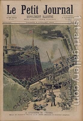 An Accident Aboard the Victoria the Death of Admiral Tyron and 359 Officers and English Sailors illustration from Le Petit Journal 8th July 1893 by Henri Meyer - Reproduction Oil Painting
