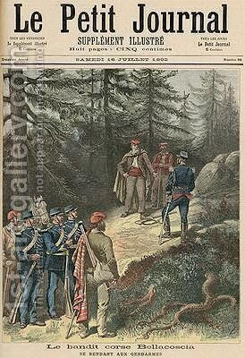The Corsican Bandit Jacques Bellacoscia Surrendering to the Police from Le Petit Journal 16th July 1892 by Henri Meyer - Reproduction Oil Painting