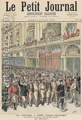 The Start of the Road Race from Paris to Belfort from Le Petit Journal 18th June 1892 by Henri Meyer - Reproduction Oil Painting