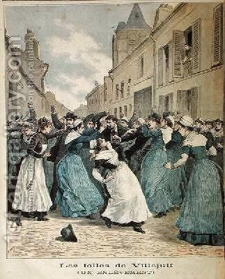 Arrest of Lunatics in Villejuif from Le Petit Journal 1891 by Henri Meyer - Reproduction Oil Painting