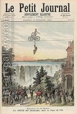 Theatre de la Gaite Performers at Niagara Falls from Le Petit Journal' 13th February 1892 by Henri Meyer - Reproduction Oil Painting