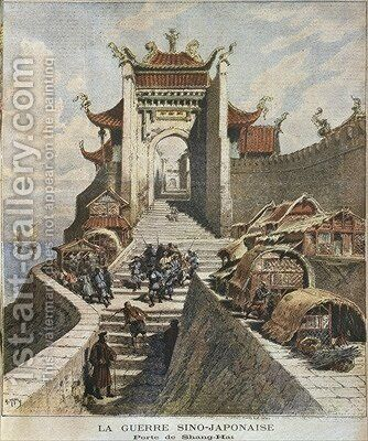 Sino-Japanese War Shanghai gate illustration from 'Le Petit Journal Supplement illustre 6th January 1895 by Henri Meyer - Reproduction Oil Painting