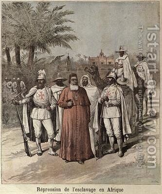 Cardinal Lavigerie 1825-92 and the White Fathers illustration to an article on the repression of slavery from Le Petit Journal April 1891 by Henri Meyer - Reproduction Oil Painting