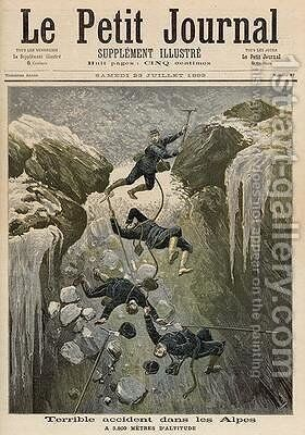 A Terrible Accident in the Alps from Le Petit Journal 23rd July 1892 by Henri Meyer - Reproduction Oil Painting