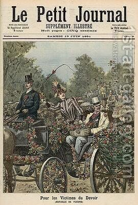 For the Victims of Duty The Battle of Flowers from Le Petit Journal 13th June 1891 by Henri Meyer - Reproduction Oil Painting