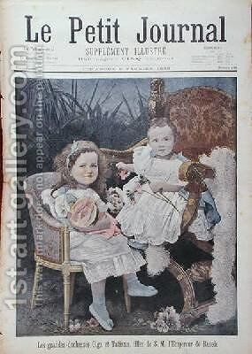 Grand Duchesses Olga 1895-1918 and Tatiana 1897-1918 from the front cover of Le Petit Journal 5th February 1899 by Henri Meyer - Reproduction Oil Painting