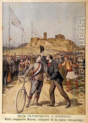 Paul Masson winner of 3 gold medals in cycling events at the 1896 Olympics in Athens illustration from Le Petit Journal 26th April 1896 by Henri Meyer - Reproduction Oil Painting