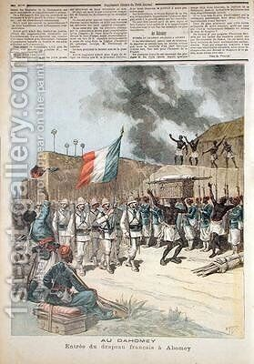 The French Flag Entering Abomey from Le Petit Journal 10th December 1892 by Henri Meyer - Reproduction Oil Painting