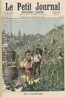 The Wine Harvest from Le Petit Journal 31st October 1891 by Henri Meyer - Reproduction Oil Painting