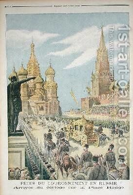 Celebration for the Coronation of Tsar Nicolas II 1894-1917 Arrival of the Cortege in Red Square from Le Petit Journal 31st May 1896 by Henri Meyer - Reproduction Oil Painting