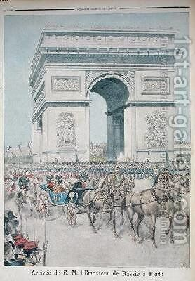 Tsar Nicolas II 1894-1917 in Paris from Le Petit Journal 11 October 1896 by Henri Meyer - Reproduction Oil Painting