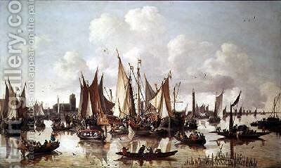 Dutch ships at Dordrecht Harbour by Hendrick de Meyer - Reproduction Oil Painting