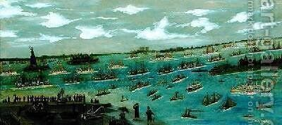 Review of the United States Fleet in New York Harbour with the Statue of Liberty 1893 by Andrew Meyer - Reproduction Oil Painting