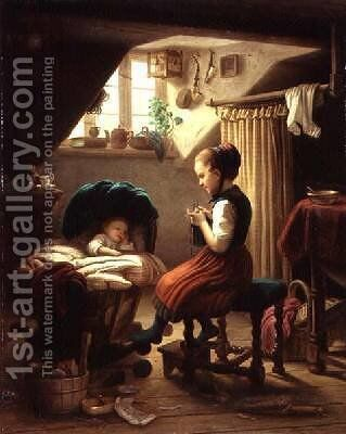 Tending the Little Ones by Johann Georg Meyer von Bremen - Reproduction Oil Painting