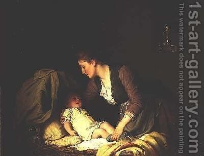 Undressing the Baby 1880 by Johann Georg Meyer von Bremen - Reproduction Oil Painting
