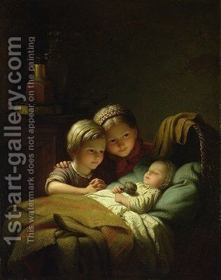 The Three Sisters by Johann Georg Meyer von Bremen - Reproduction Oil Painting