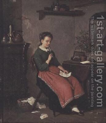 Young girl writing a love letter by Johann Georg Meyer von Bremen - Reproduction Oil Painting