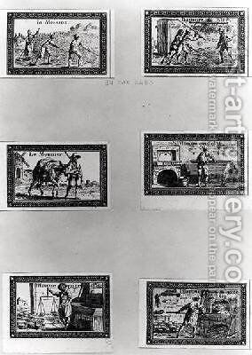 Six vignettes depicting bread making by Meunier - Reproduction Oil Painting