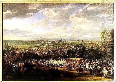 The Entry of Louis XIV 1638-1715 and Marie-Therese 1638-83 of Austria in to Arras 30th July 1667 1685 by Adam Frans van der Meulen - Reproduction Oil Painting