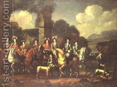 An elegant hunting party by a ruin by Adam Frans van der Meulen - Reproduction Oil Painting