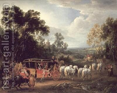 Louis XIV 1638-1715 in his state coach by Adam Frans van der Meulen - Reproduction Oil Painting