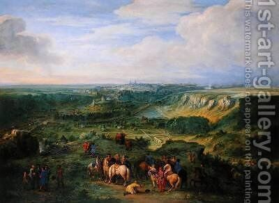 View of the city of Luxembourg from near the Mansfeld Baths 1684 by Adam Frans van der Meulen - Reproduction Oil Painting