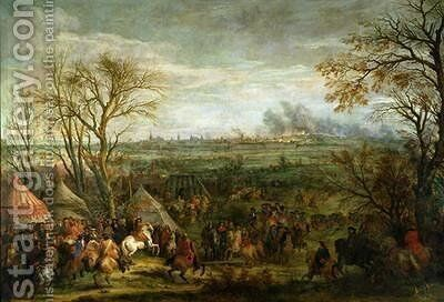 The Taking of Cambrai in 1677 by Louis XIV 1638-1715 late 17th century by Adam Frans van der Meulen - Reproduction Oil Painting