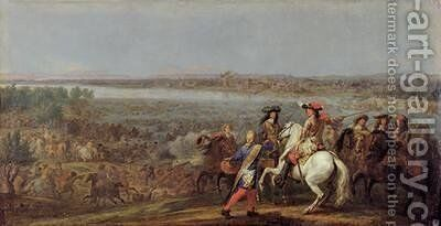 The Crossing of the Rhine 12th June 1672 by Adam Frans van der Meulen - Reproduction Oil Painting