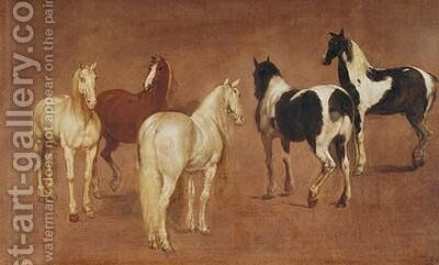 Study of Five Horses by Adam Frans van der Meulen - Reproduction Oil Painting