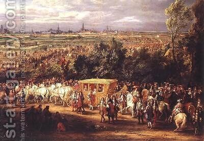 The Entry of Louis XIV 1638-1715 and Marie-Therese 1638-83 of Austria in to Arras 30th July 1667 1685 2 by Adam Frans van der Meulen - Reproduction Oil Painting
