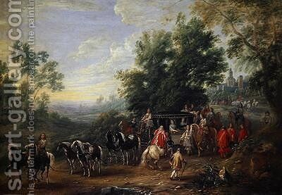 Travelling Procession of a Princess 1659 by Adam Frans van der Meulen - Reproduction Oil Painting