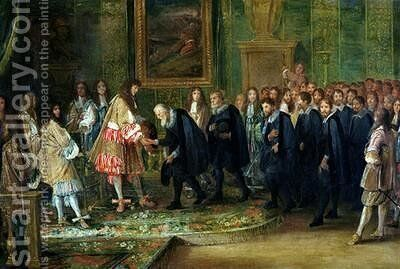 The Reception of the Ambassadors of the Thirteen Swiss Cantons by Louis XIV 1638-1715 at the Louvre 11th November 1663 1664 by Adam Frans van der Meulen - Reproduction Oil Painting