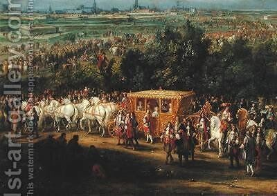 The Entry of Louis XIV 1638-1715 and Maria Theresa 1638-83 into Arras 30th July 1667 1685 by Adam Frans van der Meulen - Reproduction Oil Painting