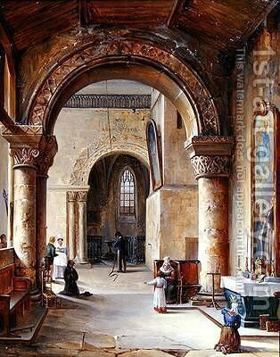 Interior of a Church in Normandy 1832 by Jean-Baptiste Messager - Reproduction Oil Painting