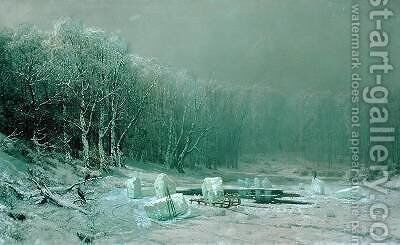 Winter the Laying Off of Ice 1878 by Arseniy Ivanovich Meshchersky - Reproduction Oil Painting
