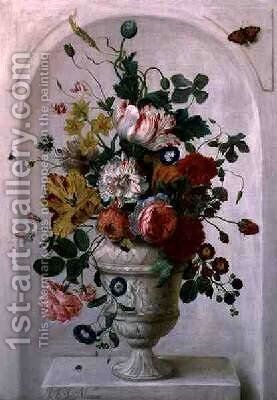 An Urn of Flowers in an Alcove by Jan Frans Josephus Mertens - Reproduction Oil Painting