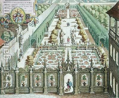 The Garden of Burgermeister Schwind from Florilegium Renovatum by Theodore de Bry 1528-98 2 by Matthaus, the Younger Merian - Reproduction Oil Painting