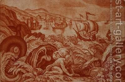 Jonah and the Whale illustration from a Bible by Matthaus, the Younger Merian - Reproduction Oil Painting