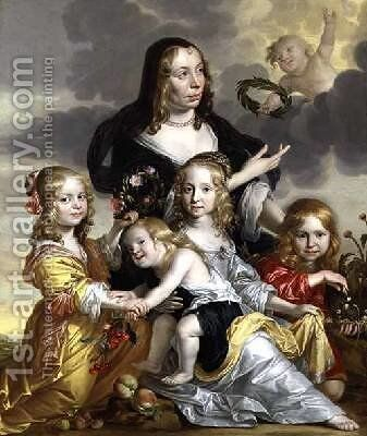 Portrait of a Lady with her Four Children by Jacob Fransz van der Merck - Reproduction Oil Painting