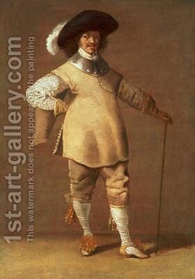A Cavalier standing in an Interior 1635 by Jacob Fransz van der Merck - Reproduction Oil Painting