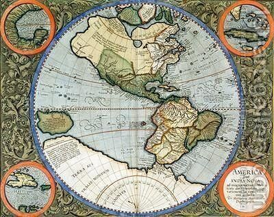 America sive India Nova from Atlas cosmographicae meditationes de fabrica mundi et fabricati figura by Michael Mercator - Reproduction Oil Painting