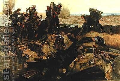 Canadians repairing a track under shell fire 1919 by Innes Meo - Reproduction Oil Painting